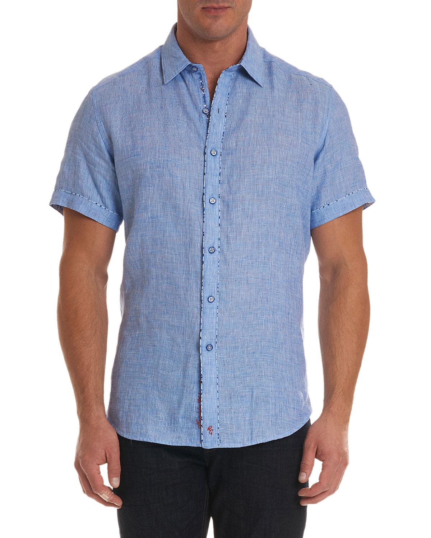 7a43c228d2 ROBERT GRAHAM Men'S Gills Classic Fit Graphic-Trim Short-Sleeve Sport  Shirt, Light