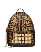 MCM Men's Stark Brass Plate Leopard Medium Backpack