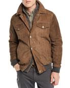 Brunello Cucinelli Men's Leather Biker Jacket