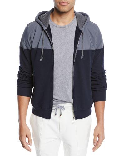 Men's Spa Colorblock Cotton-Stretch Hoodie Sweatshirt