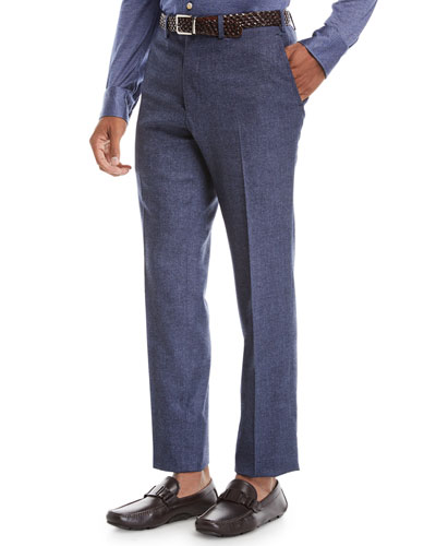 Men's Melange Stretch-Wool Flat-Front Pants