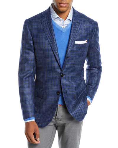 Men's Multi-Check Cashmere Sport Coat