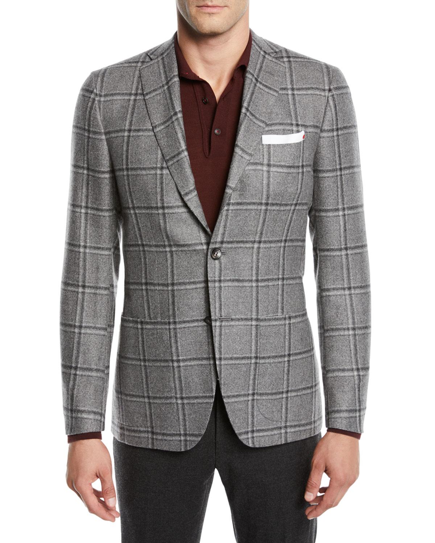 Men's Windowpane Cashmere Sport Coat