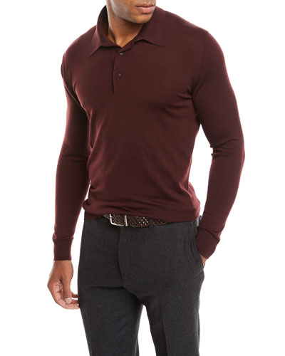 Men's Long-Sleeve Wool Polo Sweater