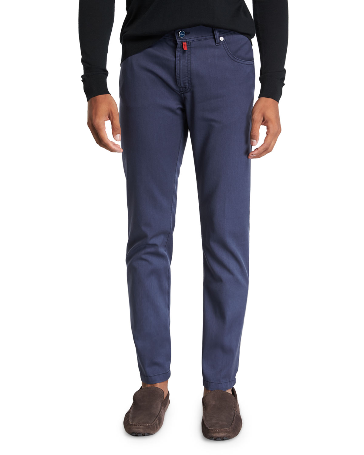 KITON Men'S Washed Wool Straight-Leg Pants in Navy