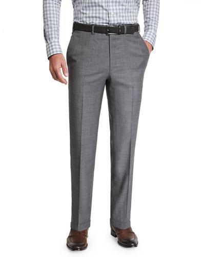 Men's Sharkskin Wool Flat-Front Dress Pants