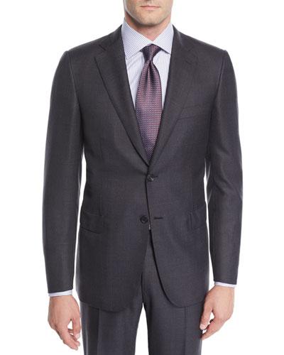 Men's Wool Windowpane Two-Piece Suit