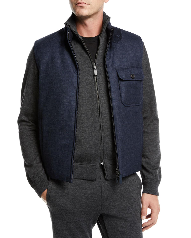 BRIONI Men'S Reversible Zip-Front Vest in Blue