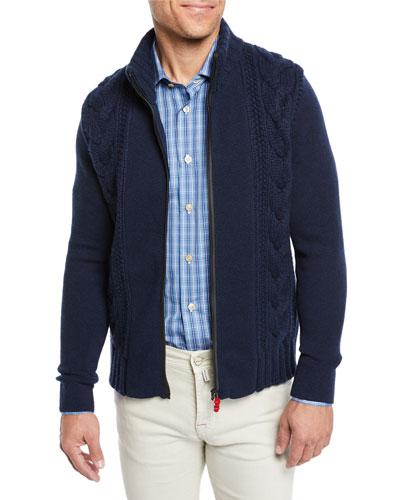 Men's Zip Cable Knit Cashmere Sweater