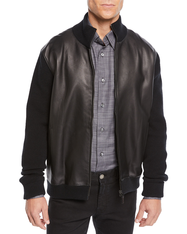 BRIONI Men'S Leather-Front Zip Knit Blouson Jacket in Black