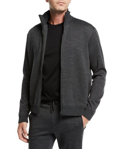 Men's Heathered Jersey Zip-Front Jacket