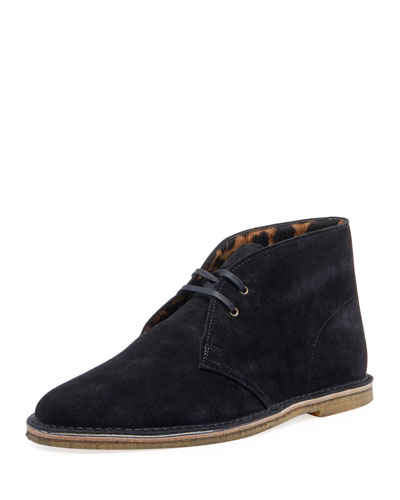 Men's Nino Suede Chukka Boots with Leopard Calf Hair Lining