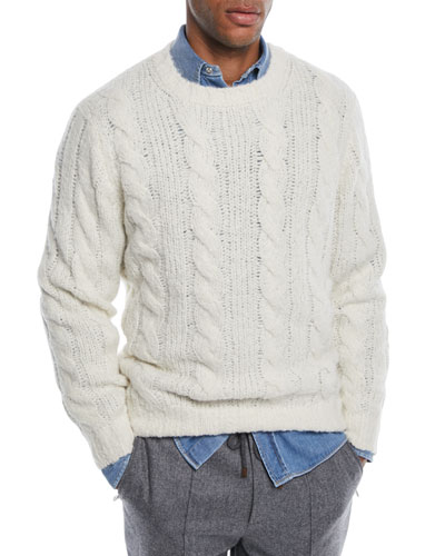 Men's Cable-Knit Crewneck Sweater