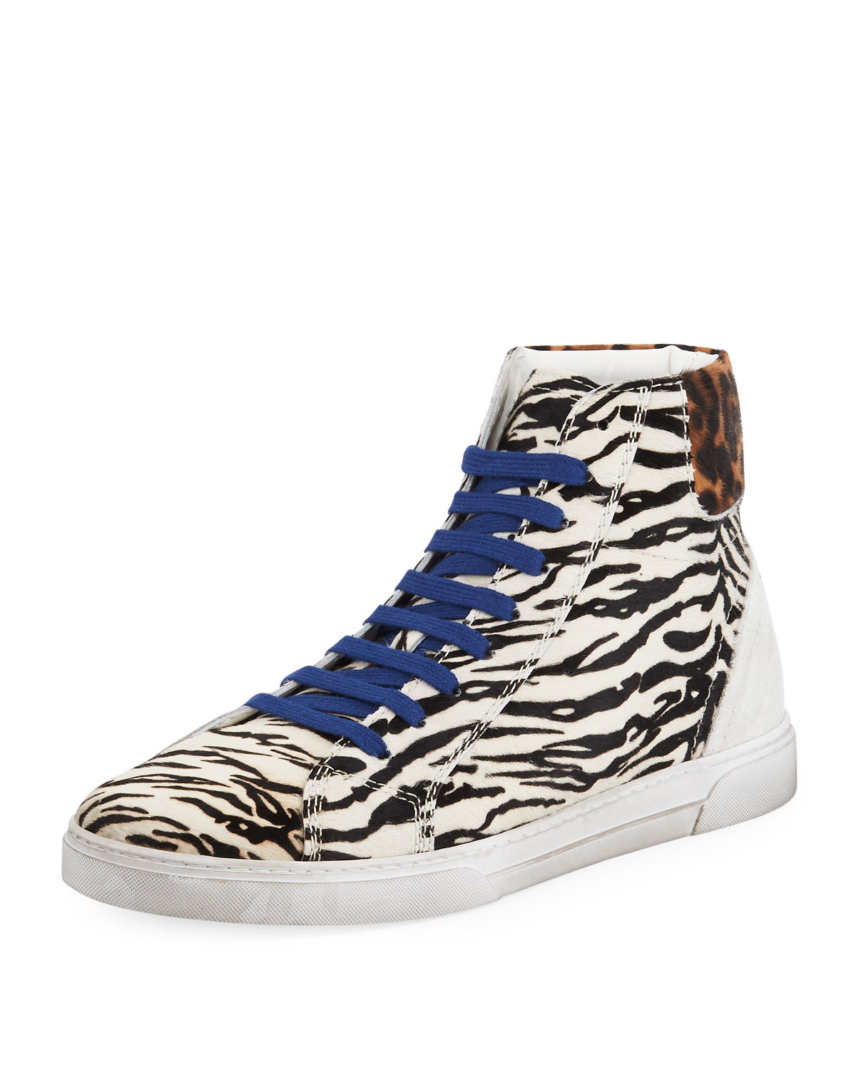 Men's Joe Chess Animal-Print Leather High-Top Sneakers