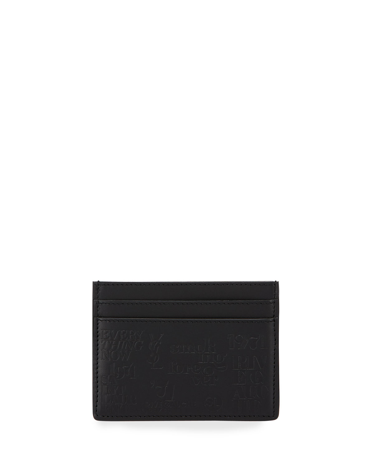 SAINT LAURENT MEN'S 1971 TYPOGRAPHY EMBOSSED LEATHER CARD CASE