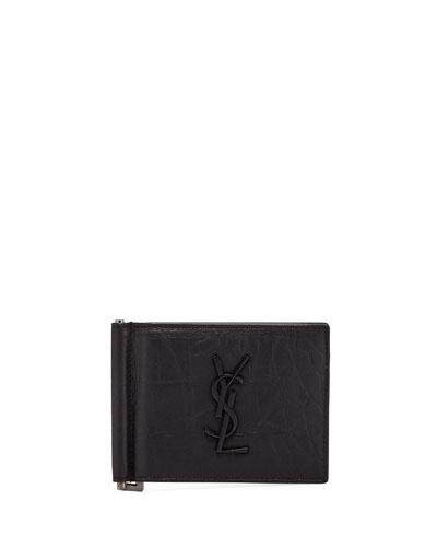 Men's YSL Leather Billfold Wallet w/ Money Clip