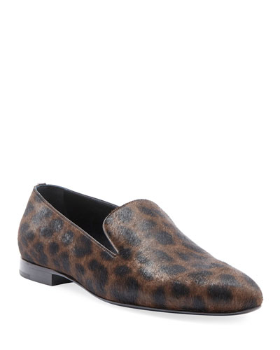Men's Leopard Calf Hair Smoking Slipper
