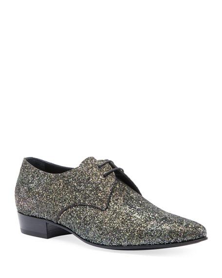 Saint Laurent Men's Hopper Glitter Derby Shoes