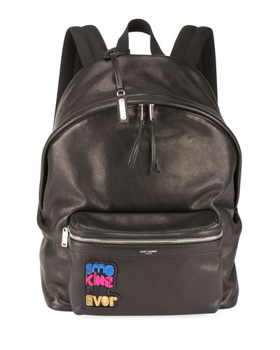 Men's City Applique Leather Backpack