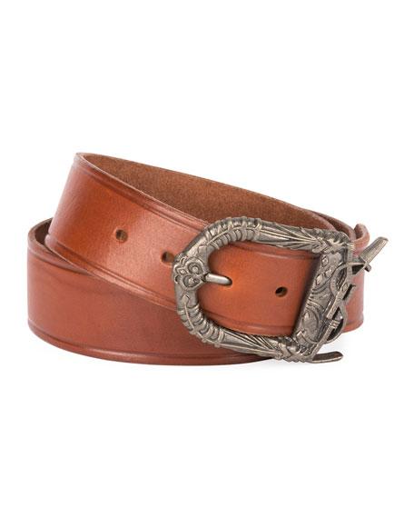 Saint Laurent Men's Leather Belt with Ornate Buckle, Dark Brown