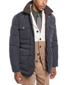 Brunello Cucinelli Men's Padded Technical Jacket with Shearling