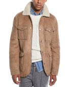 Brunello Cucinelli Men's Fur-Lined Suede Safari Jacket