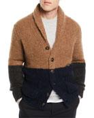 Brunello Cucinelli Men's Colorblock Shawl-Collar Cardigan