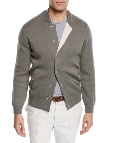 428e00c6154b Quick Look. Brunello Cucinelli · Men s Reversible Baseball Bomber Sweater