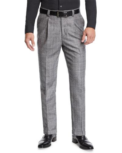 Men's Leisure Fit Single-Pleat Check Pants