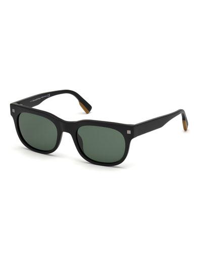 Men's Rectangular Plastic Sunglasses