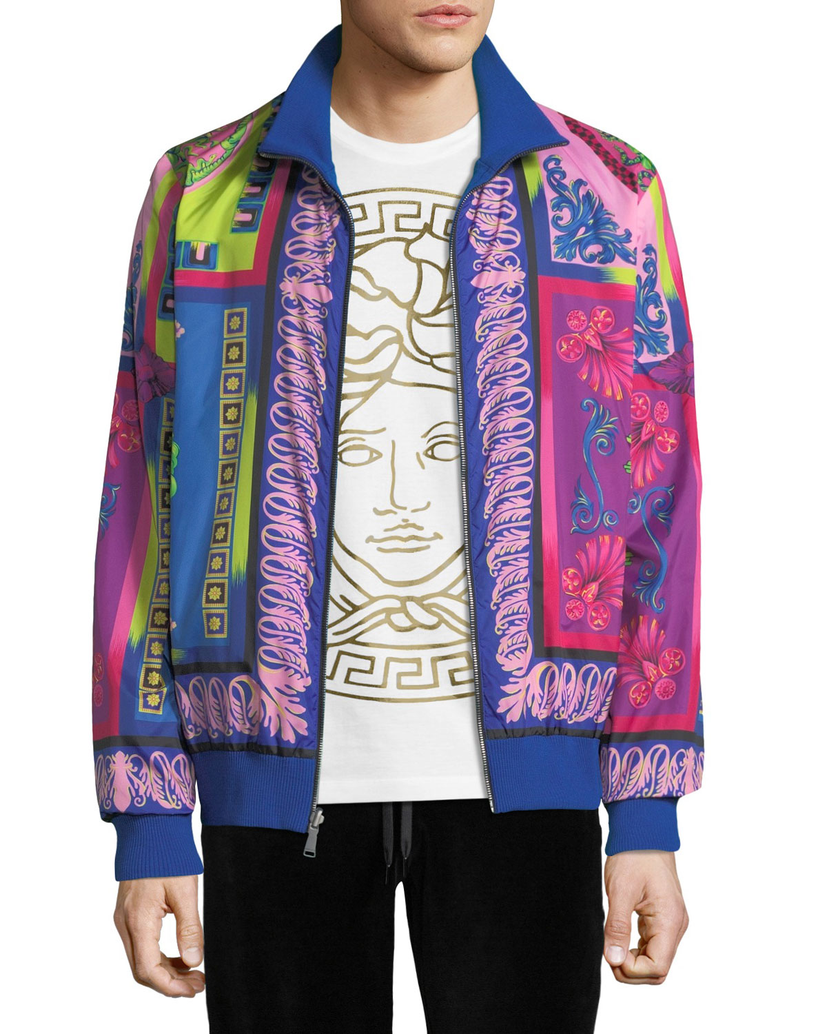 Men's Printed Zip-Front Reversible Jacket