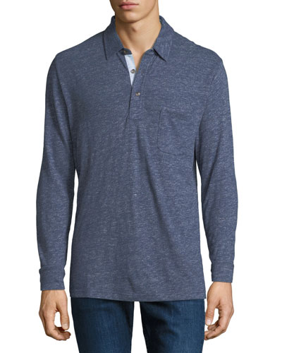 Men's Luxe Heather Long-Sleeve Polo Shirt, Navy
