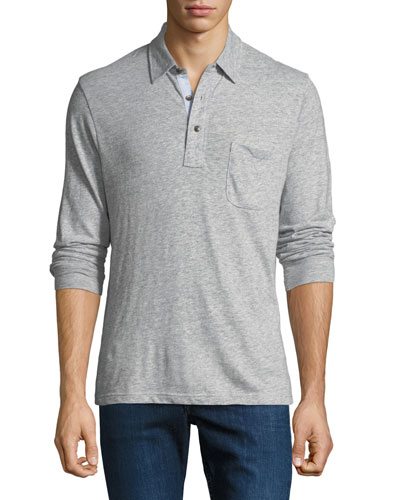 Men's Luxe Heather Long-Sleeve Polo Shirt, Gray