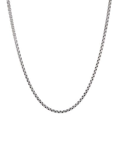 Men's Small Silver Box Chain Necklace, 22