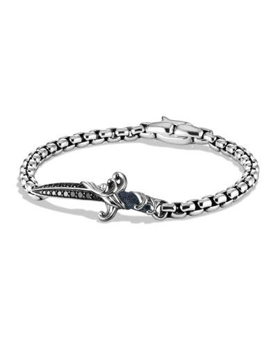 Men's Waves Dagger Bracelet w/ Black Diamonds