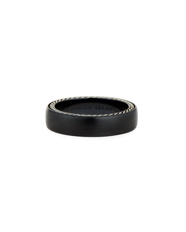 Men's Streamline Narrow Band Ring w/ Black Titanium