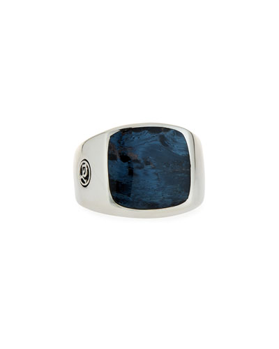 Men's Exotic Stone Signet Ring w/ Pietersite