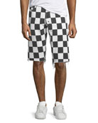 PRPS Men's Checkered Denim Shorts