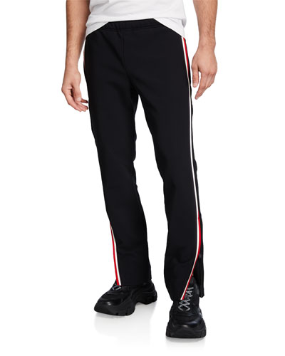 Men's Side-Stripe Straight-Leg Track Pants