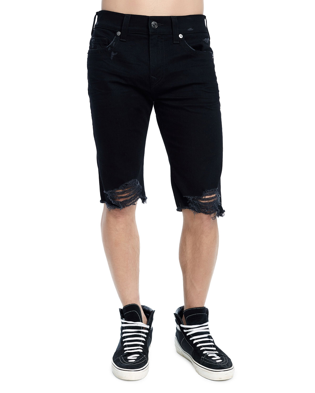 TRUE RELIGION Men'S Rocco Skinny Distressed Denim Shorts in Faxb Chalkboard