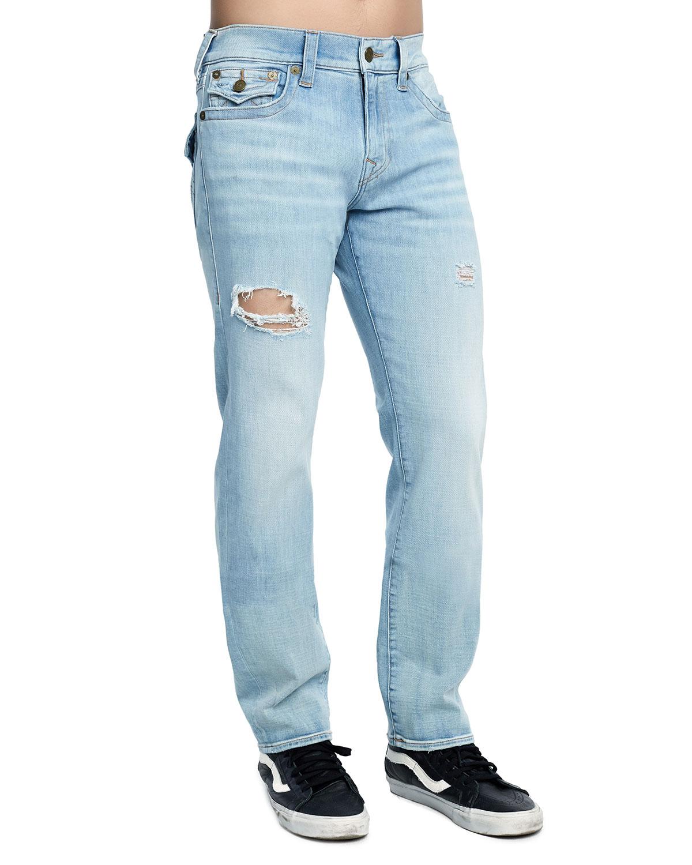 TRUE RELIGION Men'S Geno Distressed Slim-Straight Jeans, Jet Smoke in Fbjl Jet Smoke