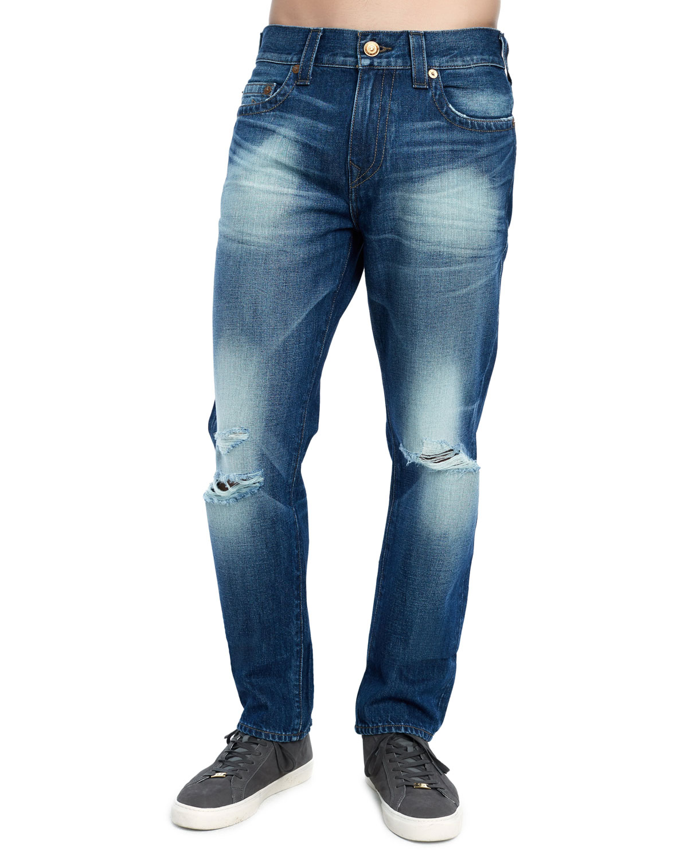 TRUE RELIGION Men'S Geno Distressed Straight-Leg Jeans in Fatm Worn Suspect