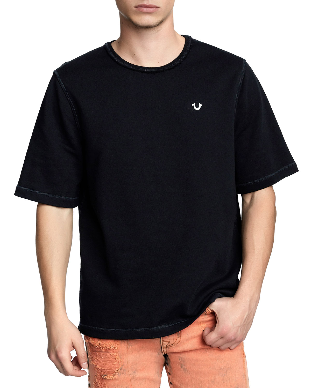 TRUE RELIGION Men'S Raw-Edge Logo-Zip T-Shirt in Black