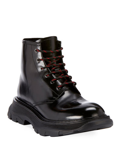Men's Leather Lace-Up Combat Boots with Thick Rubber Sole