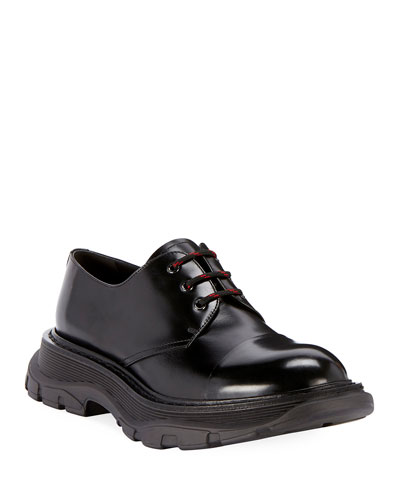 Men's Scarpa Leather Lace-Up Shoes with Thick Rubber Sole