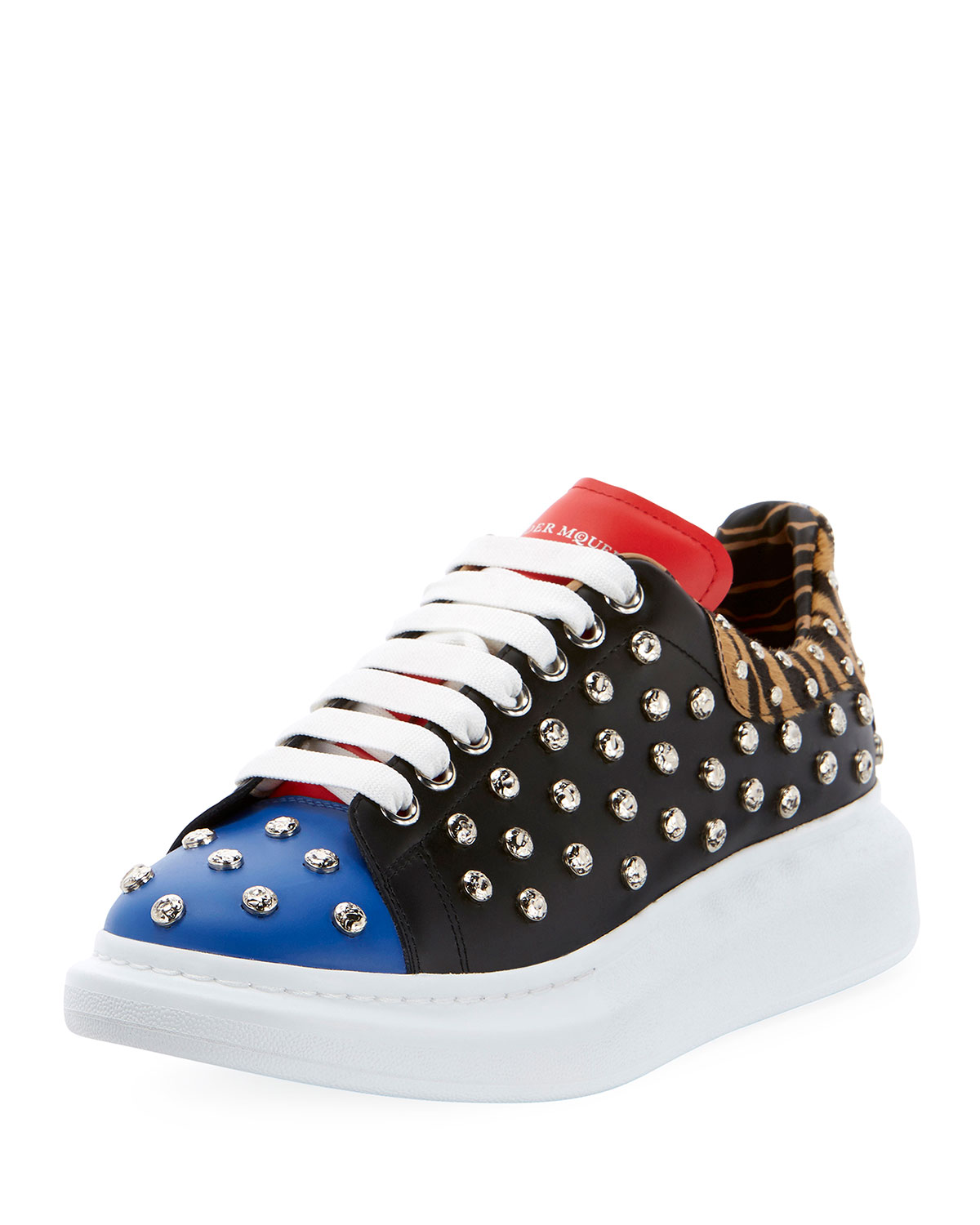 ALEXANDER MCQUEEN Men'S Studded Leather Low-Top Sneakers With Oversize Sole in Red