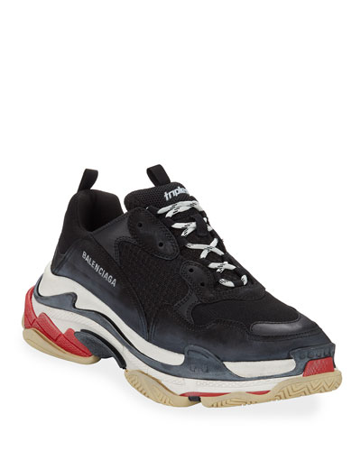 Men's Triple S Mesh & Leather Sneakers, Black
