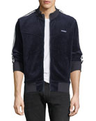 Ovadia & Sons Men's Zip-Front Side-Stripe Velour Track