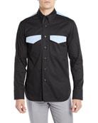 CALVIN KLEIN 205W39NYC Men's Two-Tone Wool Western Shirt