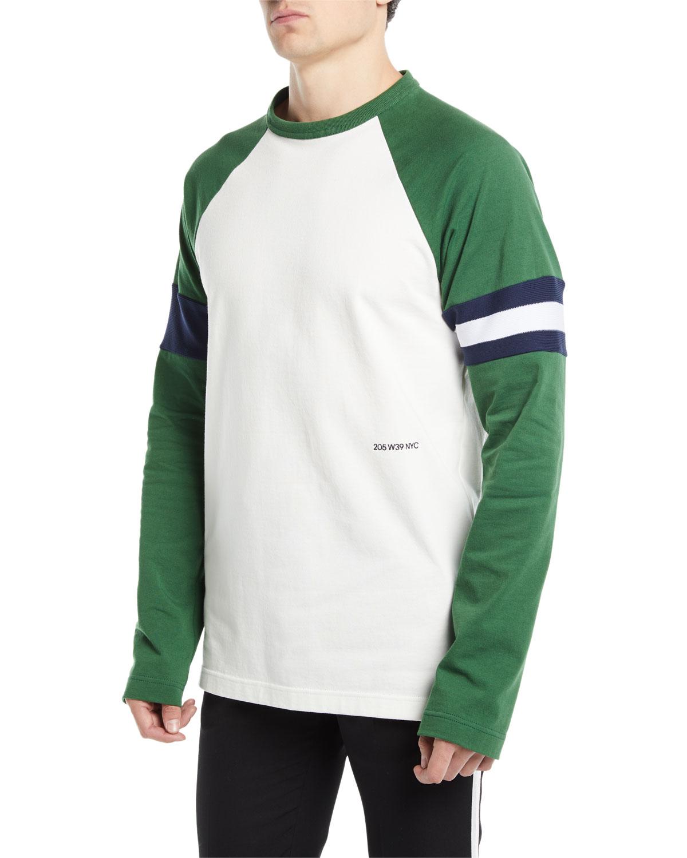Cotton Long-Sleeve Baseball T-Shirt, White Pattern